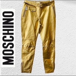 New Gold Genuine Leather Moschino Pants Size 38 /6